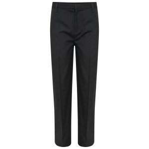 Boys Grey Regular Fit Straight Leg School Trousers