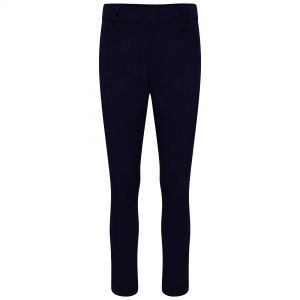 Girls Navy Slim Style Longer Leg School Trousers