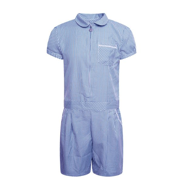 Girls School Summer Gingham Dress - Culotte - Butterfly Zip - Blue Check