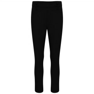 Girls Black Slim Style Longer Leg School Trousers