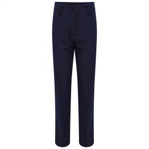 Girls Navy Straight Longer Leg School Trousers