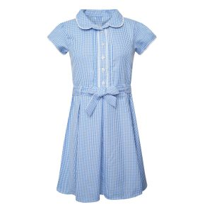 Girls School Summer Gingham Dress - Plus Fit - Blue Check