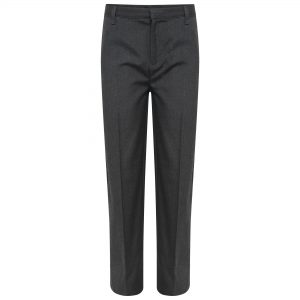 Boys Grey Plus Fit Straight Leg School Trousers
