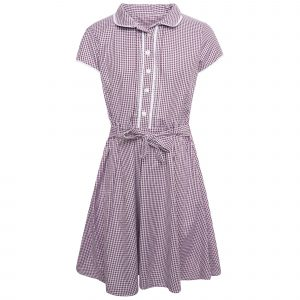 Girls School Burgandy Plus Fit Gingham Dress Cotton Blend Pleated Summer Dress Check