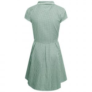 Girls School Green Gingham Dress Culotte School Pleated Dress Check Butterfly Zip