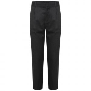 Boys Slim Dark Grey School Trousers Pleated Regular