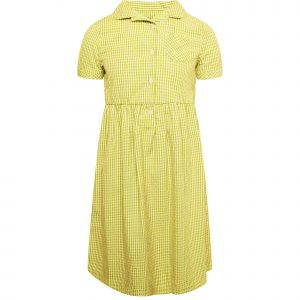 Girls School Yellow Gingham Dress Cotton Blend Pleated Summer Dress Check Frill