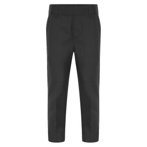 Boys Dark Grey Slim School Trousers Adjustable Waist Teflon Coated