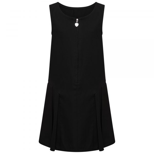 Girls Black School Pinafore Dress Pleated with Heart Zip and Teflon Coating