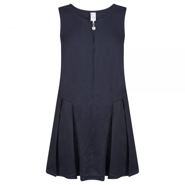 Girls Navy School Pinafore Dress Pleated with Heart Zip and Teflon Coating