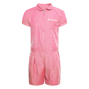 Girls School Red Gingham Dress Culotte School Pleated Dress Check Butterfly Zip