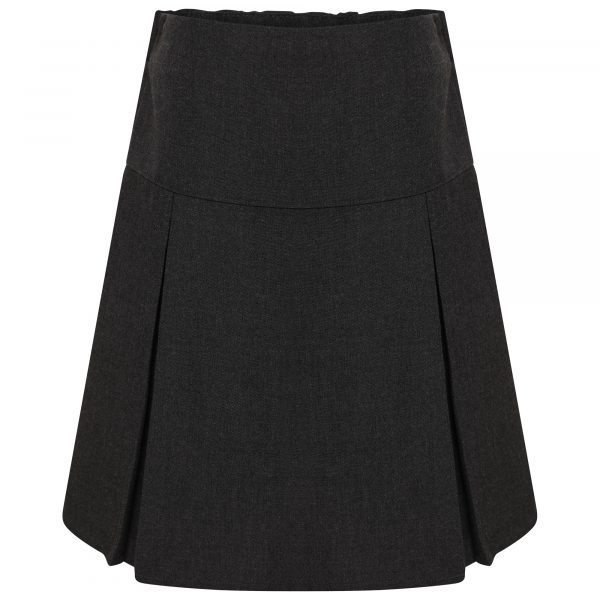 Girls Charcoal Grey Classic School Skirt with Permanent Pleats