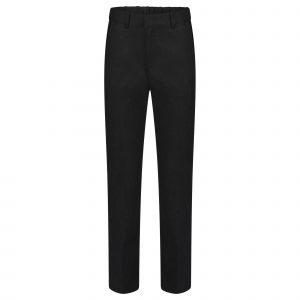 Boys Black Slim School Trousers Adjustable Waist Teflon Coated