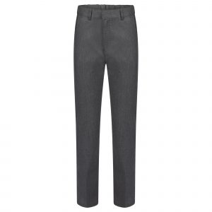 Boys Grey Slim School Trousers Adjustable Waist Teflon Coated