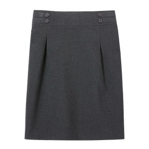 Girls School Grey Pencil Skirt Pleated Front