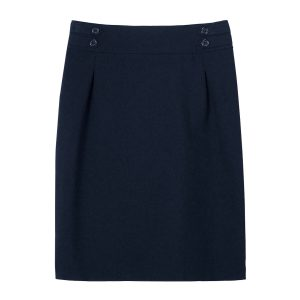 Girls School Navy Pencil Skirt Pleated Front